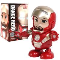Wholesale avengers electronic resale online - Dance Iron Man Action Figure Toy robot LED Flashlight with Sound Avengers Iron Man Hero Electronic Toy kids toys