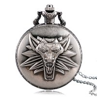 Wholesale wolf necklaces for women for sale - Group buy Brozne Gray Hot Game Honorable Wizard Wolf Head Quartz Pocket Watch For Men Women Kids Necklace Chain Gifts