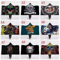 Wholesale acrylic blankets adult resale online - Skull Hooded Blankets Adult Kids Halloween Skull Themed Hoodie Blanket D Printed Magic Shawl Towel High Quality Fleece Shawls MMA1127