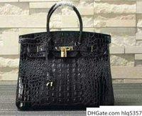 Wholesale designer women crocodile handbags luxury for sale - Group buy Black green red Luxury crocodile Tote Genuine Leather handbag design High Woman size