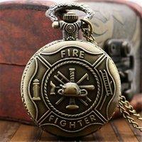 Wholesale fire gear resale online - HOT Antique Copper Steampunk Vintage Bronze Gear Men Women Steampunk Vintage Fire Fighter Necklace Pendant Quartz Pocket Watch
