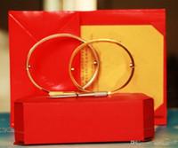 pulseiras de ouro para casais venda por atacado-Titanium aço amor pulseiras de prata subiu pulseiras de ouro mulheres homens parafuso chave de fenda pulseira casal jóias com caixa original set