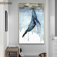 Wholesale whale decor resale online - Beautiful Watercolor Whale Modern Porch Background Decoration Painting Canvas Print Poster Art Wall Picture Home Decor Wall Art