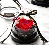 розовый стеклянный купол оптовых-Сохраненный подарок на День Святого Валентина эксклюзивная Роза в стеклянном куполе с огнями вечная настоящая Роза подарок на День матери