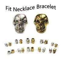 20 unidades Skull set 17 beads grande agujero perlas Paracord Lanyard pulsera calavera