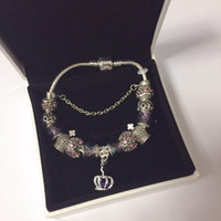 16 17 18 19 20 21CM Charm Bracelet 925 Silver plated Bracelets Royal Crown Accessories Purple Crystal Bead different color Diy Wedding Jewelry with box