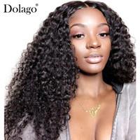 perruques avant en lacet remy achat en gros de-13x6 avant de lacet perruques de cheveux humains pour les femmes 150% de la densité profonde bouclés brésiliens dentelle perruque frontale sans colle Dolago Noir Full End Remy