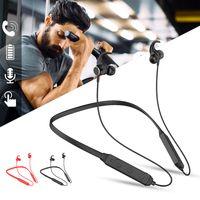 auriculares negros rojos al por mayor-Deportes Bluetooth Auricular Cuello Tipo de gancho para la oreja Auriculares Nuevo Running Metal Magnetic Heavy Bass Card Plug-in Stereo Black Red