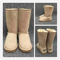 Wholesale branded long boots resale online - Hot sales designer Women Snow Boots Classic Style Cow Suede Leather Waterproof Winter Warm Knee high Long Boots Brand Ivg Plus Size US3