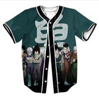 бейсбольная футболка печать оптовых-Goku Saiyan Забавный 3D-принт Мужские пуговицы Homme Baseball Jersey 3D Shirt Уличная футболка Футболки Хип-хоп футболка Майки для игры в карты