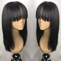 franges de cheveux achat en gros de-18inch péruvienne cheveux pleine frange perruque de cheveux humains Glueless 360 Lace Frontal perruque avec une frange Blanchi Nœuds dentelle perruques pour les femmes ujibg