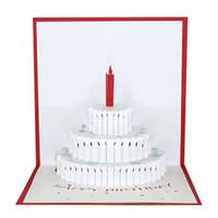3d pop up cartões de bolo de aniversário venda por atacado-Cartão de bolo de aniversário 3D estereoscópico pop up cartão criativo oca-out casamento de felicitações feliz natal eu te amo por atacado