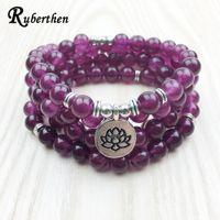 Wholesale stone woman s necklace resale online - Ruberthen Fashion Claret Stone Bracelet High Quality Women s Yogi Necklace Wrap Meditation Jewelry Drop Shipping Y19051002