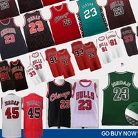 23 toros al por mayor-NCAA 23 MJ Dennis 91 Rodman 45 MJ Scottie 33 Pippen Bulls Jersey Retro Basketball Jerseys College Basketball Wears