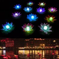 Wholesale floating water lotus for sale - Group buy LED Lotus Lamp Colorful Changed Floating Water Pool Wishing Light Floating Lotus Flower Candle Lamp Party Decoration wishing lamps LSK116