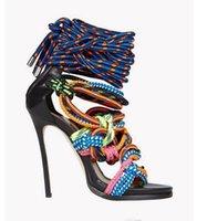 halat elbiseler seksi toptan satış-Seksi Yeni Gladyatör Yüksek Topuklu Ayakkabı Kadın Yaz Büyü Renk Elbise Sandalet Cut Çıkışları Parti Ayakkabı Kadın Dokuma Halatlar Stiletto Sandalet