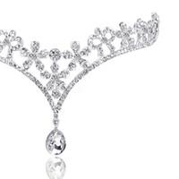 corona de quinceañera al por mayor-Envío gratis cristal de moda Tiara corona accesorios para el cabello para la boda Quinceanera cadena de pelo Pageant joyería del pelo