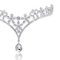 quinceanera haar krone großhandel-Kostenloser versand Mode Kristall Tiara Krone Haarschmuck Für Hochzeit Quinceanera Haar Kette Pageant Haarschmuck