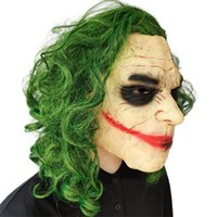 Wholesale dark knight toy resale online - Dark Knight clown latex mask Halloween green wig headwear cos prop scar mask mardi gras cosplay Parent child toys Christmas