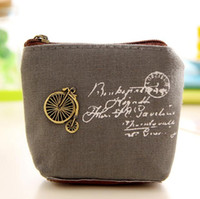 ingrosso moneta da torre-20pcs Iron Tower BicyclePrinted Vintage Zipper Pencil Custodia sveglia portatile Min chiave Coin borsa borsa trucco