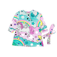 Wholesale baby girl long sleeved dresses resale online - Baby Girl Dress Light Blue Dress Suit Rainbow Printed Childrens Dresses Long Sleeved Baby Pajamas With Round Collar