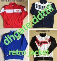 birleşik ceketler toptan satış-Retro Versiyon 1984 kırmızı 2010 mavi 1990 Büyük Amerika Yüzüncü Futbol forması ceket tam zip futbol 1998 PSV Manchester 1996 Madrid BARCE