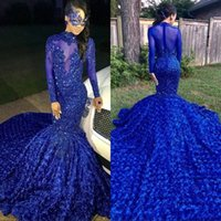 Wholesale tail dresses images for sale - Luxury Long Tail Royal Blue Black Girls Mermaid Prom Dresses High Neck Long Sleeves Beaded Handmade Flowers Evening Party Gowns BC0749