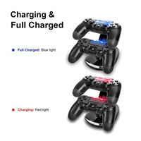 Wholesale LED Dual Charger Dock Mount USB Charging Stand For PlayStation PS4 Xbox One Gaming Wireless Controllers With Retail Box