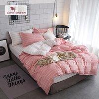 capa de edredon rosa rosa venda por atacado-SlowDream Stripes Bedding Set Colcha Capa de Edredão Dupla Lençóis Roupa de Cama Consolador Adulto Rainha Rei Rosa Branca Roupas de Cama
