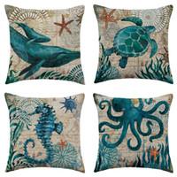 estuche marino al por mayor-Funda de almohada Throw Throw Pillow Theme mar mediterráneo de lino al aire libre decorativo caso 18x18 pulgadas para la decoración casera