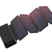 banco de energía solar dual al por mayor-Al aire libre Plegable Portátil Plegable Impermeable Panel Solar Cargador Banco de Energía Móvil 10000mAh para Batería de Teléfono Móvil Puerto Dual USB