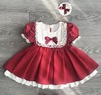 ingrosso abiti da sposa cinturino rosa-One Piece Retail 2019 Girl Lace Spagna abiti Primavera Estate Princess Bow dress Ruffle Party con fasce vestiti per bambina