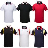 yeni tasarım polo tişört toptan satış-Yeni Erkekler Polo Gömlek Yılan Arı Nakış Erkek Polos Gömlek Moda Tasarım Renk Şerit Polo T Shirt
