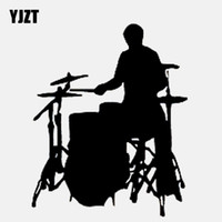 Wholesale YJZT CM CM Car Sticker Stylish Rock Drummer Playing Music Vinyl Black Silver Decal C22