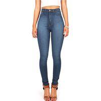 novo lápis xxl venda por atacado-2018 Outono Inverno Europeia Mulheres Roupas Lápis Calças Skinny New Style Calças Compridas XXL Whitning Cintura Alta Jeans Feminino