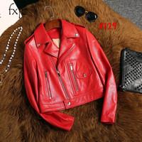 camisa de manga de cuero rojo al por mayor-Otoño nueva cremallera con cremallera de cuero rojo camisa de manga larga moda venta corta chaqueta femenina C19041501