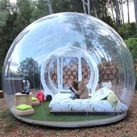 ingrosso trasparente tenda bolla gonfiabile-Trasporto libero gonfiabile tenda bolla trasparente con tunnel per il campeggio di alta qualità tarvel esterno leggero tenda a cupola trasparente