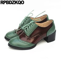 цветные кожаные кружева оптовых-oxford lace up 10 42 2019  shoes women designers size 33 genuine leather multi colored big retro brogue thick round toe