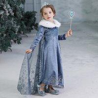 ingrosso regina bambini-Bambini Snow Queen Cosplay Fancy Dress principessa per la ragazza del pannello esterno della nappa costume di Halloween del partito di Natale per bambini Abiti invernali