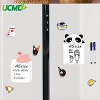 mensaje de dibujos animados al por mayor-Etiqueta engomada magnética del refrigerador de la historieta 2pc tamaño A5 Dry Wipe Writing Message Board Recordatorio Memo Pad para refrigerador Decoración de cocina