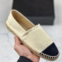 zwei sandalen großhandel-Luxus Designer Schuhe Klassische Müßiggänger Leder Espadrilles Flache Schuhe Zwei Ton Kappe Toe Echtes Lammfell Sommer Multicolor Damen Sandalen SZ 34-42