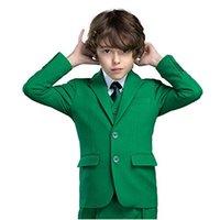 erkek çocuklar için balo kıyafeti toptan satış-Boy Suit Notch Yaka Özel Made Yeşil Çocuk Takım Elbise Düğün / Balo / Akşam Yemeği / Boş Vakit / gösteri Çocuk takımları (Ceket + Pantolon + Yelek + Gömlek + Kravat) M1360