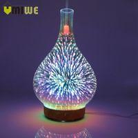 ingrosso vaso ad umidificatore a ultrasuoni-3d fuochi d'artificio vaso di vetro forma aria con led night light aroma olio essenziale diffusore mist maker umidificatore ad ultrasuoni q190601