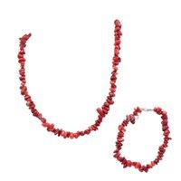 coral rojo africano cuentas naturales al por mayor-Encanto Collar Pulsera Conjunto de joyas de Dubai Coral rojo Piedra Boda Bolas africanas Conjuntos nupciales Joyería de cadena de piedra natural A929