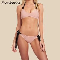горячий розовый купальник для женщин оптовых-Free Ostrich Hot Sales Women Solid Two Piece Swimsuit Pushups Swimwear Beachwear  Simple Chic Style Pink Black Slim Sets