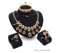 asiatische schmucksachen 18k goldarmbänder großhandel-Hot Style Schmuck Set bunte Diamanten Set Halskette Ohrringe Armband Ring Set aus vier Teilen
