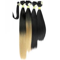 12 zoll verlängerungen haar synthetisch großhandel-Gerade Synthetische Haarverlängerungen 4 Bundles Mit Bang Hair Bundles 5 stücke Los 12 14 16 18 Zoll 1B / 27 1B / 30 1B / 613
