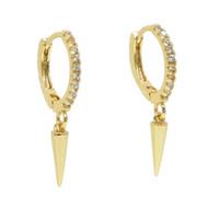 18 k altın kaplama askısı küpeleri toptan satış-Altın kaplama spike charm revit dangle charm küpe bırak moda basit takı ile cz daire çember kadınlar için