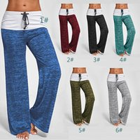 Wholesale ladies drawstring yoga pants for sale - England Casual Pants Spring Autumn Lady Indoor High Waist Drawstring Loose Relaxed Leggings Capris Cotton Blend Yoga Training Sport Trousers