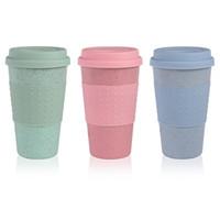 blaue teetassen großhandel-Mode Silikon Kaffeetasse mit Deckel Umweltfreundliche Weizenstroh Getränk Teetasse Kreative Kaffeetasse Reisebecher Rosa Blau Teebecher DBC VT0370